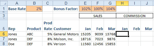 excel  calculate a sales commission
