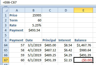 Excel: Create an Amortization Table