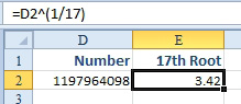 Excel: Raise a Number to a Fraction to Find the Square or