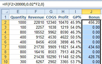 Excel: Use IF to Calculate a Bonus - Excel Articles